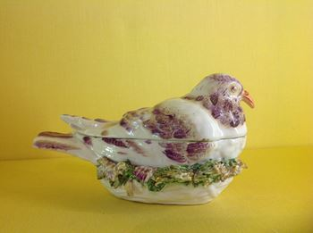 A rare Derby pigeon shaped small tureen and cover