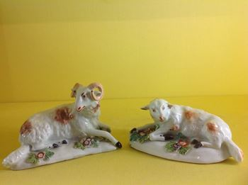 Two Derby models of a ewe and a ram