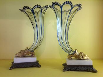 A pair of Bohemian blue flash glass cornucopia