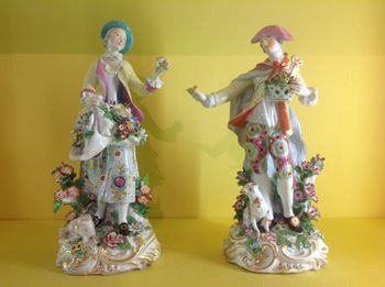 A pair of Chelsea figures of a shepherd and shepherdess