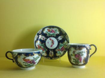A Worcester teacup, coffee cup and saucer