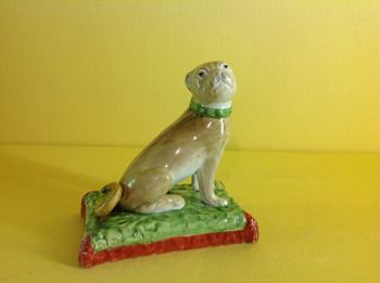 A Staffordshire pearlware model of a pug