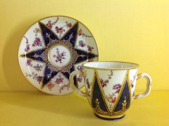 A Chelsea chocolate cup and saucer