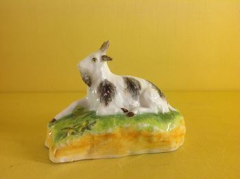 A rare Madeley model of a recumbent goat