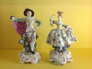 A rare pair of Derby small figures