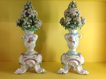 A pair of Derby large vases and stands