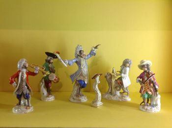 A Meissen twenty one piece Monkey Band
