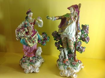 A pair of Chelsea large figures of the Imperial Shepherd and Shepherdess