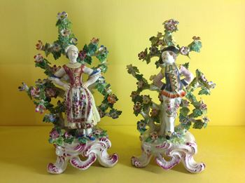 A pair of Bow figures of 'Dutch Dancers'