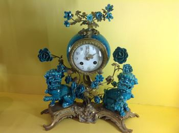 A French ormolu and Chinese porcelain mantel  clock