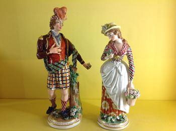 An unusual pair of Derby figures