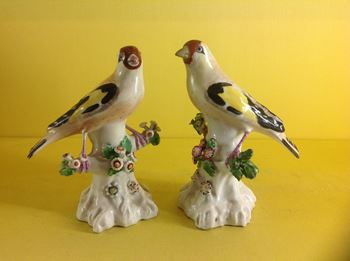 A pair of Derby models of Goldfinches