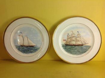 American Interest. A rare set of twelve Minton dessert plates
