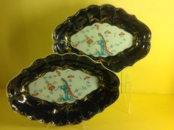 A pair of Worcester lozenge shaped dishes