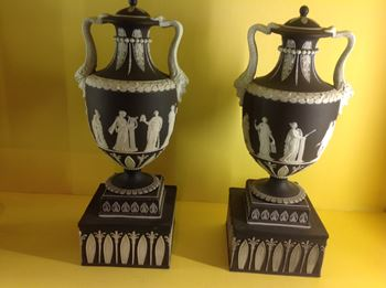 A pair of Wedgwood black Jasper dip vases and covers