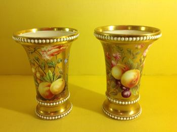 A pair of Spode flared spill vases