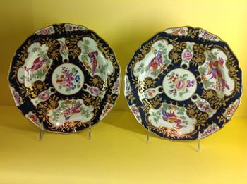 A fine pair of Worcester 'Lady Mary Wortley Montagu' pattern plates