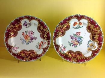 A pair of Chelsea claret ground plates