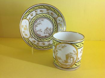 A Sevres coffee can and saucer