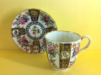 A Worcester large coffee or chocolate cup and saucer