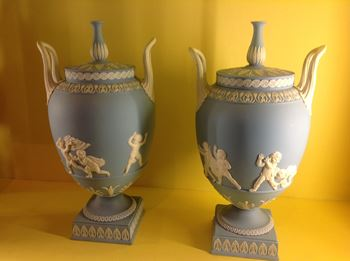 A pair of 19th century Wedgwood blue Jasper vases and covers