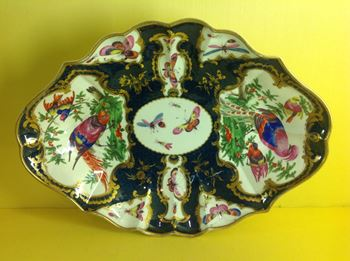 A fine Worcester fluted large lozenge shaped dish