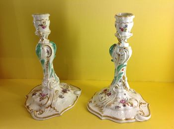 A fine pair of Meissen large candlesticks