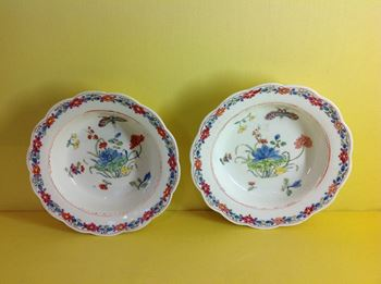 A rare pair of early Bow finger bowl stands