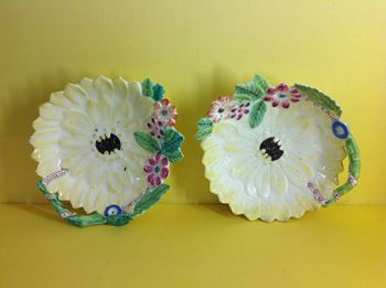 An extremely rare pair of Bow sunflower dishes