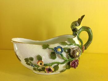 An unusual Meissen sauceboat