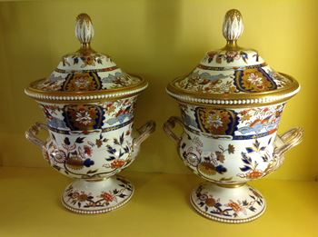 A fine pair of Spode fruit coolers, covers and liners