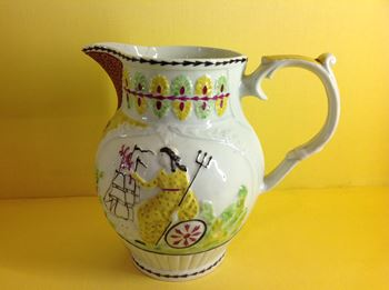 An unusual English porcelain jug