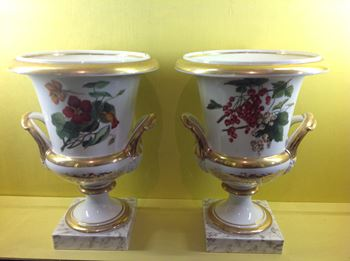 A pair of Paris porcelain large campana shaped vases
