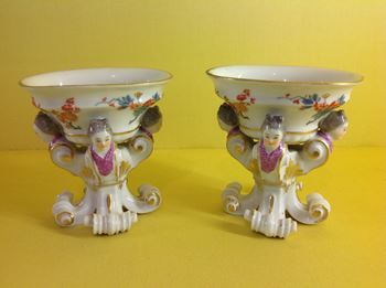 A rare pair of Meissen salt cellars