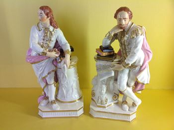 A pair of Derby figures of Shakespeare and Milton