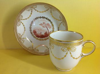 A Derby chocolate cup and saucer
