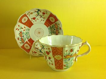 An unusual Samson chocolate cup and saucer, in Worcester style