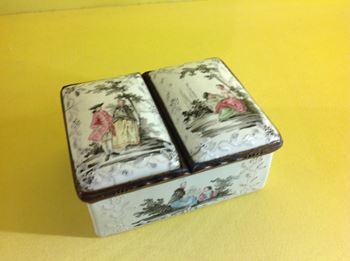 A German enamel two division snuff box