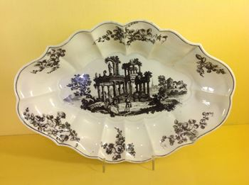 A Worcester fluted lozenge shaped dish