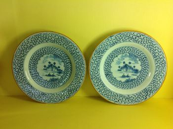 An unusual pair of Dutch Delft plates