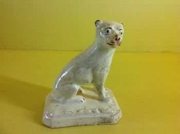 An unusual English porcelain lioness