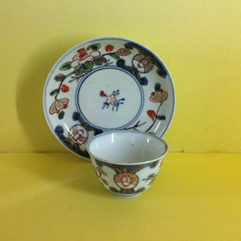 A Japanese Arita small tea bowl and saucer