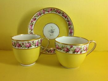 A Derby teacup, coffee cup and saucer