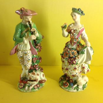 A pair of Chelsea figures