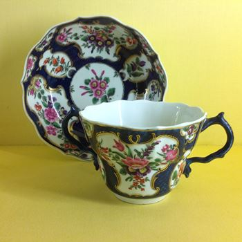 A Worcester chocolate cup and saucer