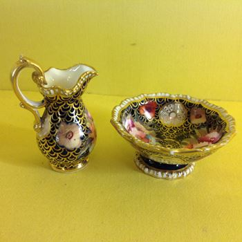 A Coalport miniature ewer and basin