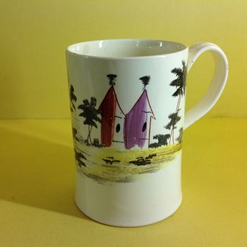 A Leeds creamware cylindrical mug