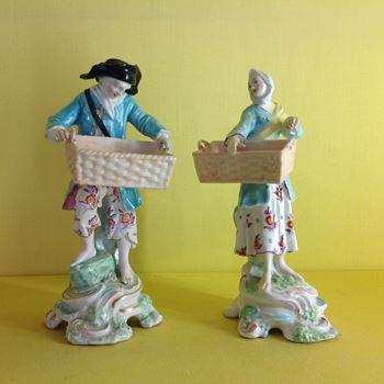An unusual pair of Derby sweetmeat figures