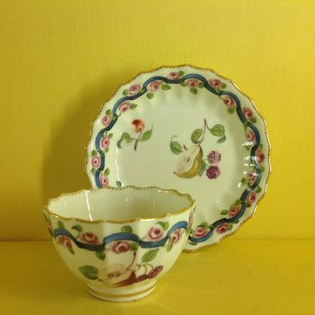 A rare Chelsea Derby tea bowl and saucer