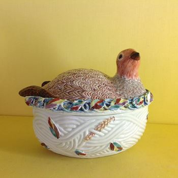 A rare Worcester Partridge tureen and cover